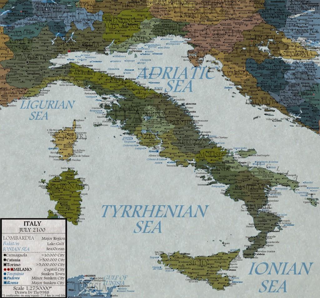 livello del mare nel 2100